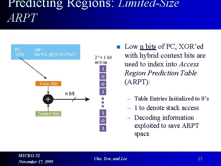 Predicting Regions: Limited-Size ARPT n Low n bits of PC, XOR'ed with hybrid context