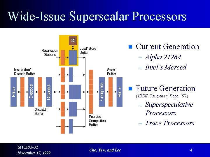 Wide-Issue Superscalar Processors n Current Generation – Alpha 21264 – Intel's Merced n Future