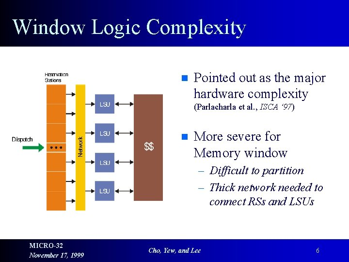 Window Logic Complexity n Pointed out as the major hardware complexity (Parlacharla et al.