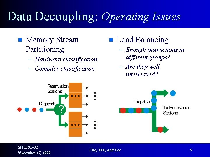 Data Decoupling: Operating Issues n Memory Stream Partitioning n – Hardware classification – Compiler