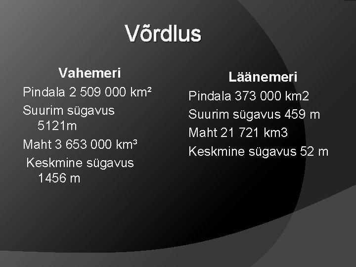 Võrdlus Vahemeri Pindala 2 509 000 km² Suurim sügavus 5121 m Maht 3 653
