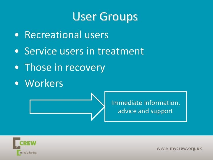 User Groups • • Recreational users Service users in treatment Those in recovery Workers