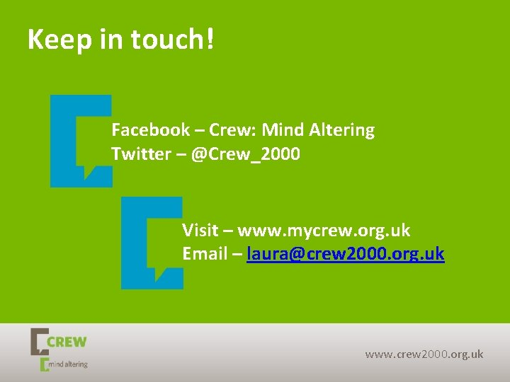 Keep in touch! Facebook – Crew: Mind Altering Twitter – @Crew_2000 Visit – www.