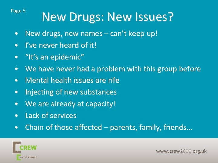 Page 6 • • • New Drugs: New Issues? New drugs, new names –