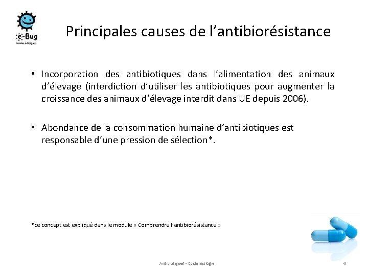 Principales causes de l'antibiorésistance • Incorporation des antibiotiques dans l'alimentation des animaux d'élevage (interdiction
