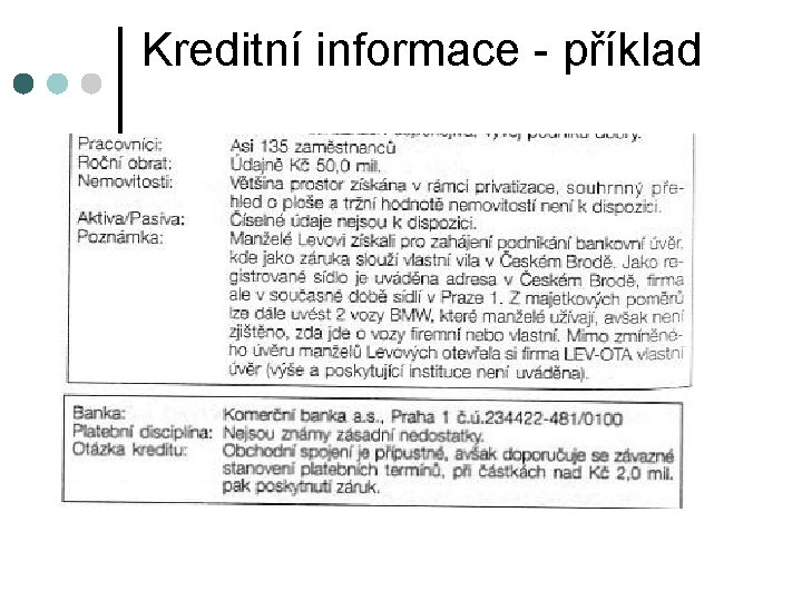 Kreditní informace - příklad