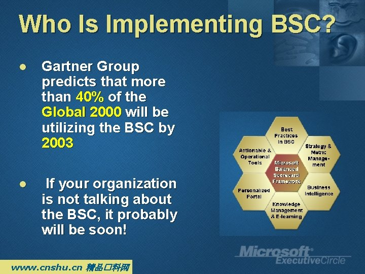 Who Is Implementing BSC? l Gartner Group predicts that more than 40% of the