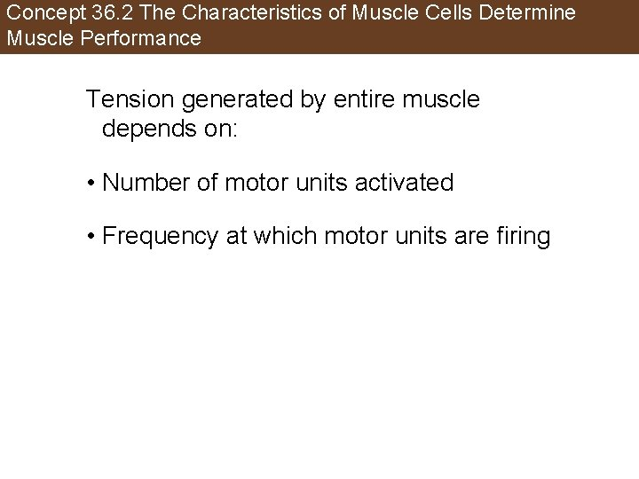 Concept 36. 2 The Characteristics of Muscle Cells Determine Muscle Performance Tension generated by
