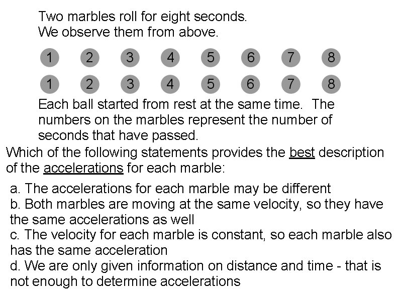 Two marbles roll for eight seconds. We observe them from above. Each ball started