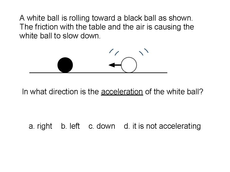 A white ball is rolling toward a black ball as shown. The friction with