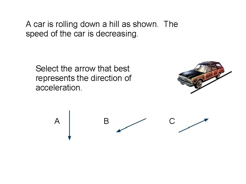 A car is rolling down a hill as shown. The speed of the car