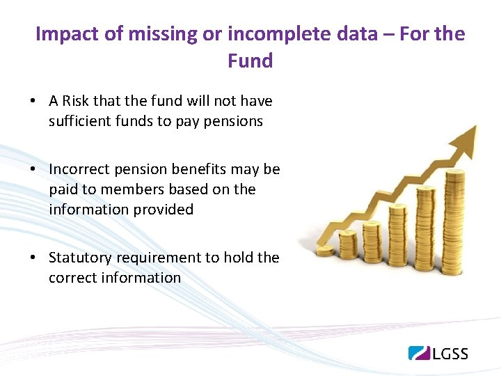 Impact of missing or incomplete data – For the Fund • A Risk that