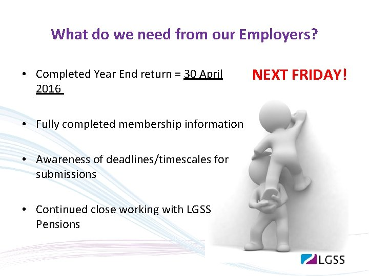 What do we need from our Employers? • Completed Year End return = 30