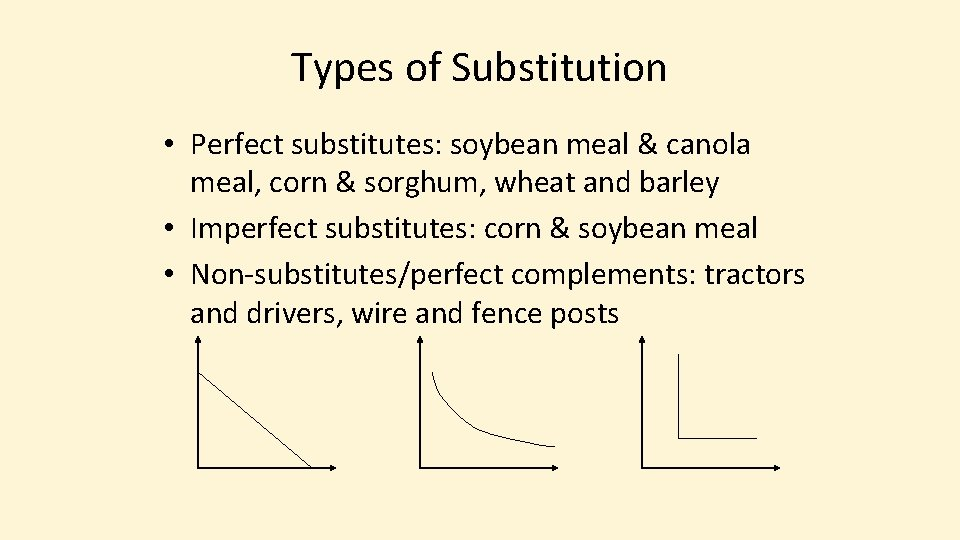 Types of Substitution • Perfect substitutes: soybean meal & canola meal, corn & sorghum,