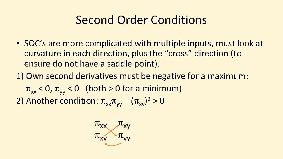 Second Order Conditions • SOC's are more complicated with multiple inputs, must look at