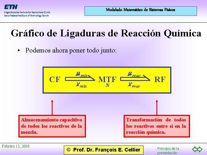 Modelado Matemático de Sistemas Físicos Gráfico de Ligaduras de Reacción Química • Podemos ahora