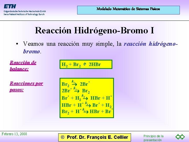 Modelado Matemático de Sistemas Físicos Reacción Hidrógeno-Bromo I • Veamos una reacción muy simple,