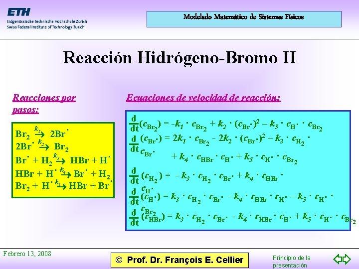 Modelado Matemático de Sistemas Físicos Reacción Hidrógeno-Bromo II Reacciones por pasos: 1 Br 2