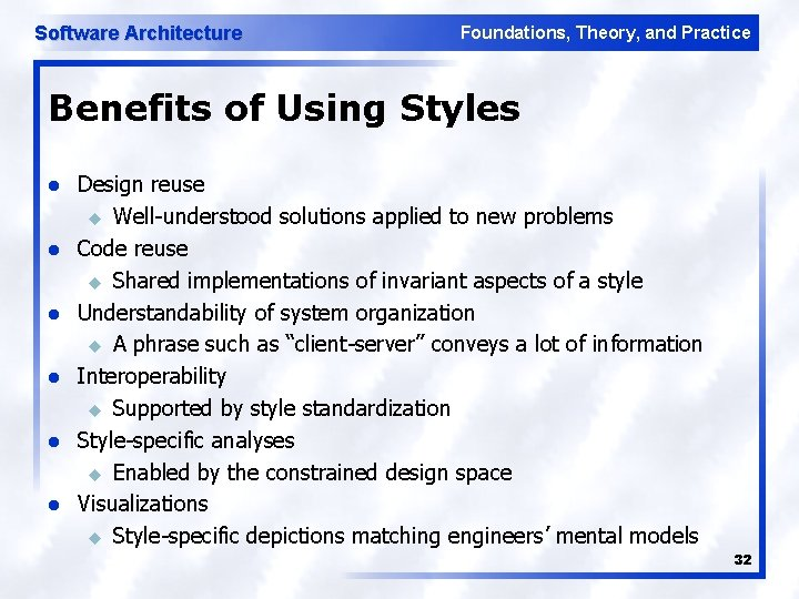 Software Architecture Foundations, Theory, and Practice Benefits of Using Styles l l l Design
