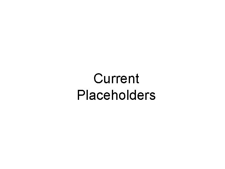 Current Placeholders