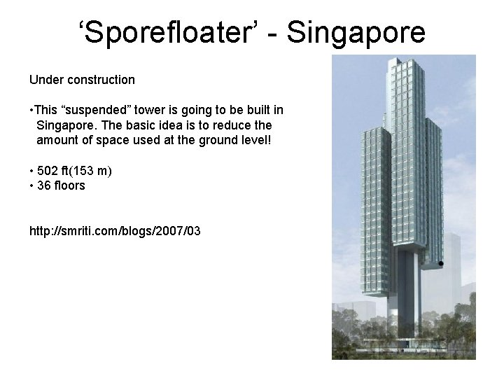 """'Sporefloater' - Singapore Under construction • This """"suspended"""" tower is going to be built"""