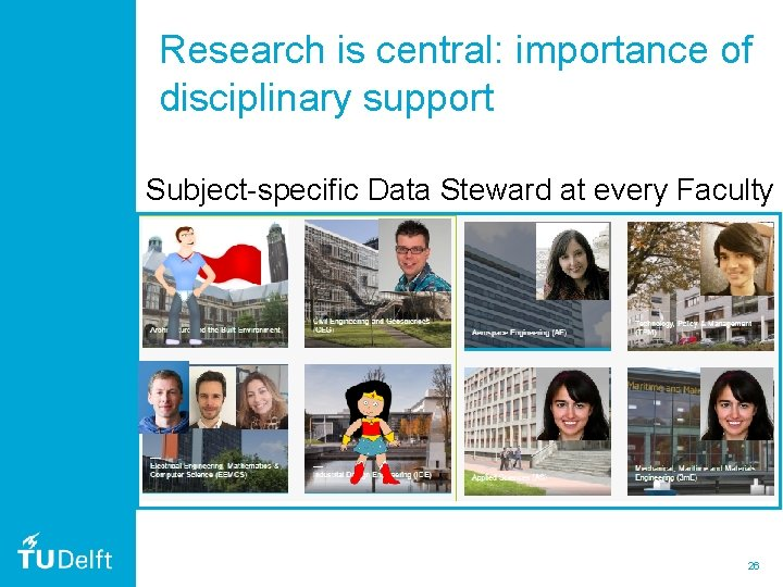 Research is central: importance of disciplinary support Subject-specific Data Steward at every Faculty 26
