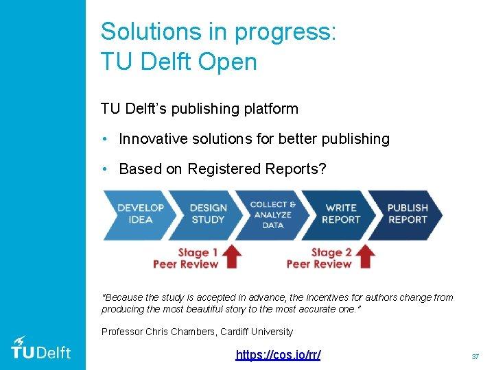 Solutions in progress: TU Delft Open TU Delft's publishing platform • Innovative solutions for