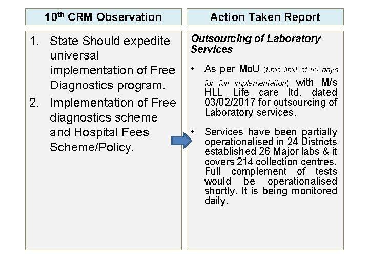 10 th CRM Observation 1. State Should expedite universal implementation of Free Diagnostics program.