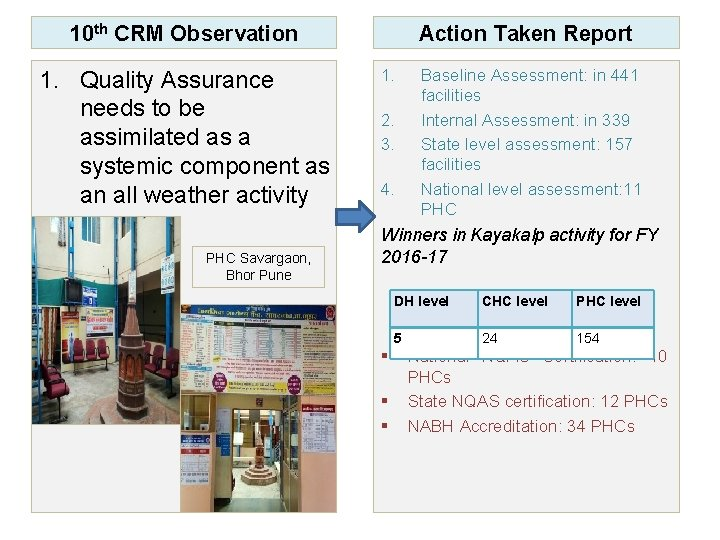 10 th CRM Observation 1. Quality Assurance needs to be assimilated as a systemic