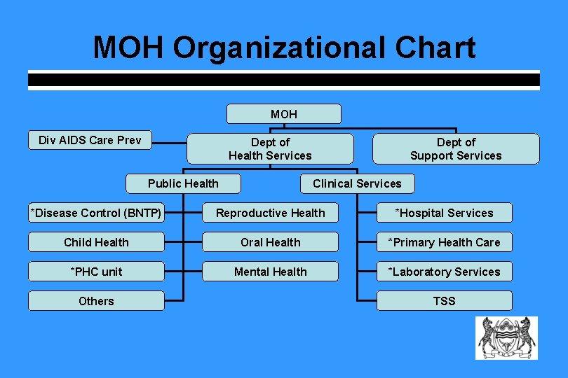 MOH Organizational Chart MOH Div AIDS Care Prev Dept of Health Services Public Health