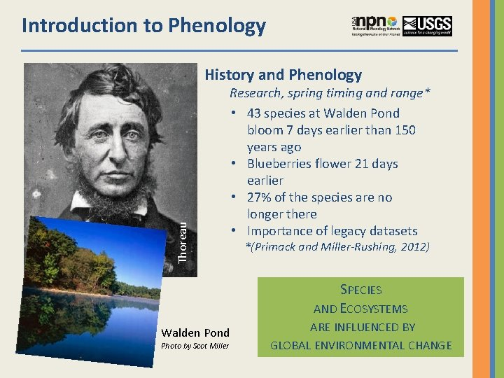 Introduction to Phenology Thoreau History and Phenology Research, spring timing and range* • 43