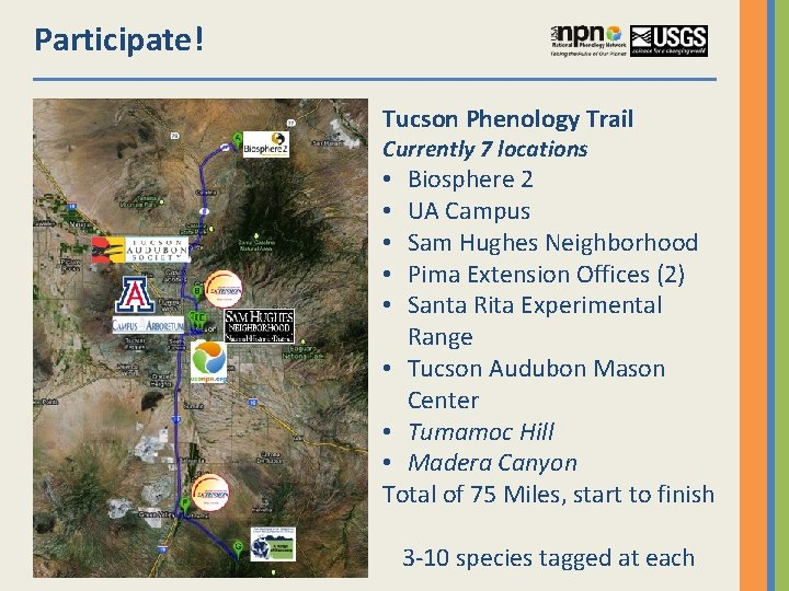Participate! Tucson Phenology Trail Currently 7 locations Biosphere 2 UA Campus Sam Hughes Neighborhood