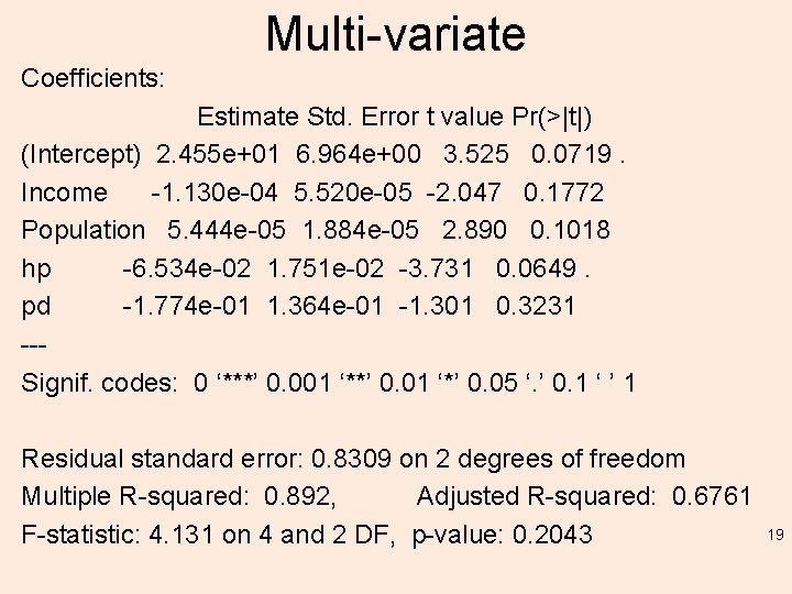 Multi-variate Coefficients: Estimate Std. Error t value Pr(>|t|) (Intercept) 2. 455 e+01 6. 964