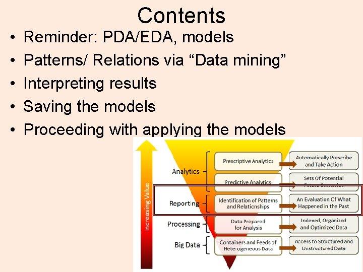 "• • • Contents Reminder: PDA/EDA, models Patterns/ Relations via ""Data mining"" Interpreting"