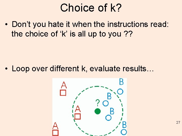 Choice of k? • Don't you hate it when the instructions read: the choice