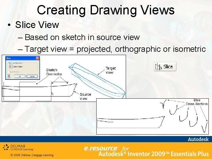 Creating Drawing Views • Slice View – Based on sketch in source view –