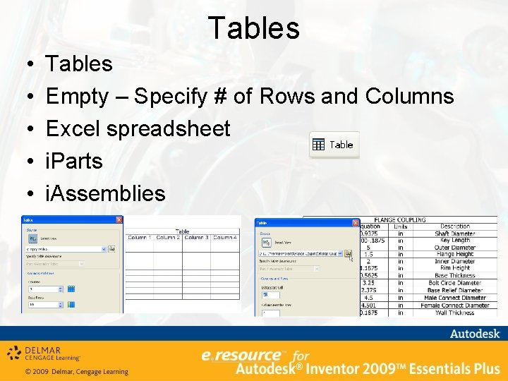 Tables • • • Tables Empty – Specify # of Rows and Columns Excel