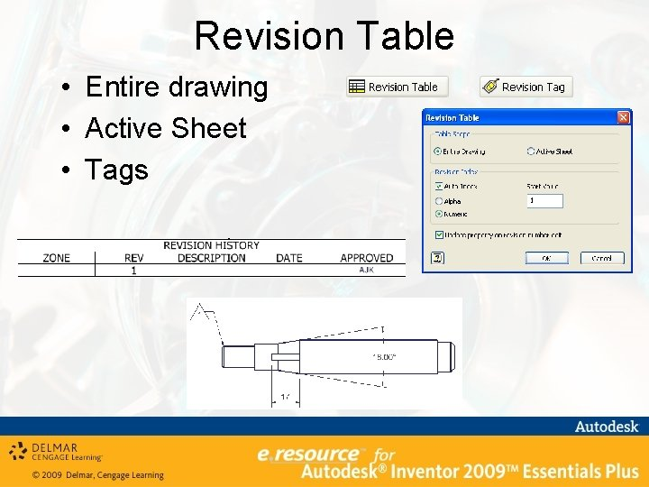 Revision Table • Entire drawing • Active Sheet • Tags