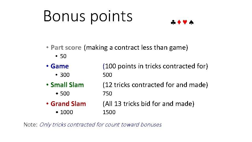 Bonus points • Part score (making a contract less than game) • 50 •