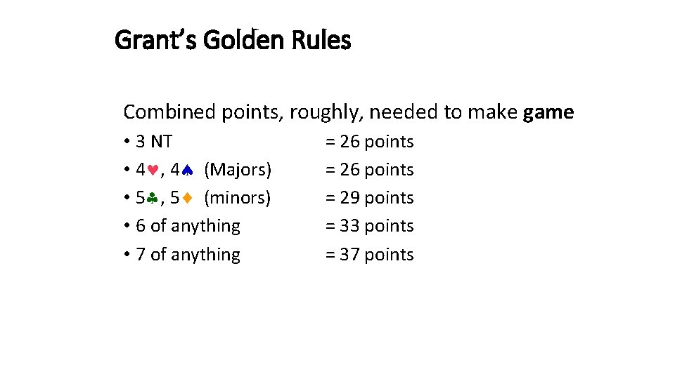Grant's Golden Rules Combined points, roughly, needed to make game • 3 NT •