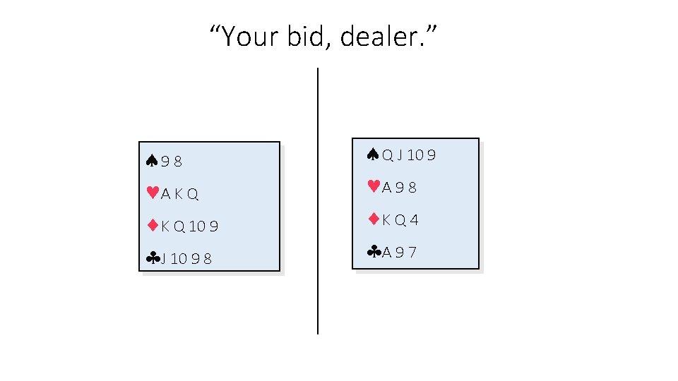 """Your bid, dealer. "" 9 8 A K Q 10 9 J 10 9"