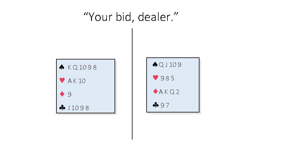 """""""Your bid, dealer. """" K Q 10 9 8 A K 10 9 J"""
