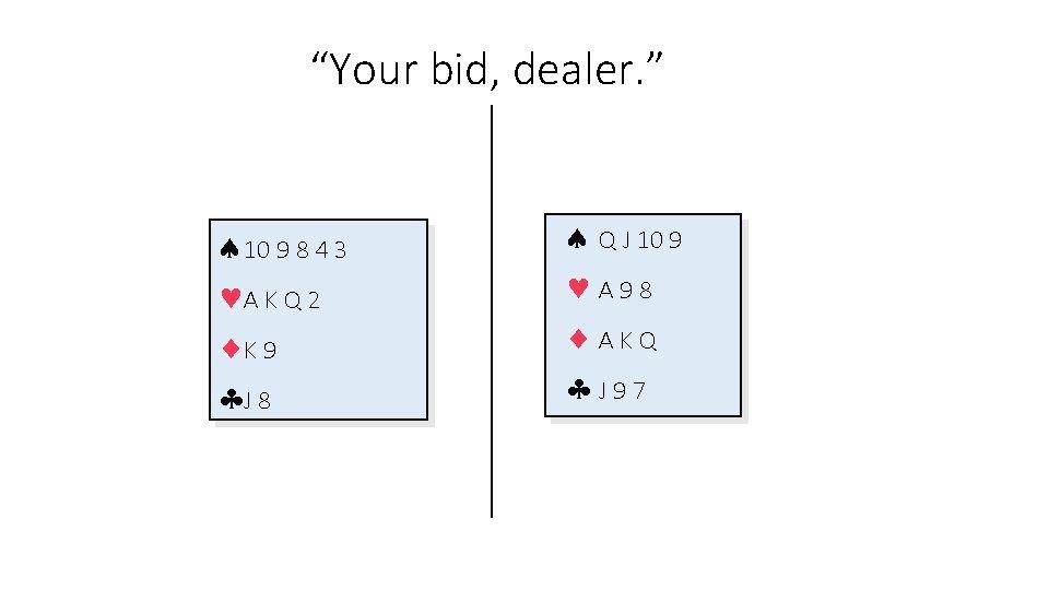 """Your bid, dealer. "" 10 9 8 4 3 A K Q 2 K"