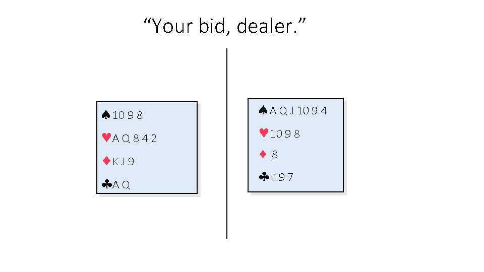 """Your bid, dealer. "" 10 9 8 A Q 8 4 2 K J"