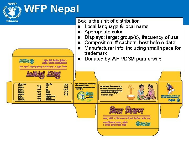 WFP Nepal Box is the unit of distribution l Local language & local name