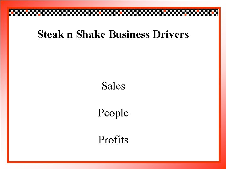 Click edit Master style Steakto n Shake Businesstitle Drivers • • • Click to