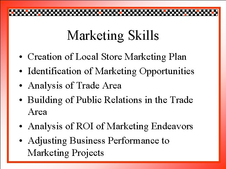 Click to edit Master title style Marketing Skills • • Creation Click to edit