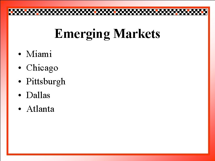 Click. Emerging to edit Master title style Markets • • • Miamito edit Master
