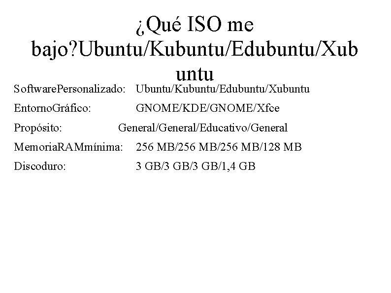 ¿Qué ISO me bajo? Ubuntu/Kubuntu/Edubuntu/Xub untu Software. Personalizado: Ubuntu/Kubuntu/Edubuntu/Xubuntu Entorno. Gráfico: Propósito: GNOME/KDE/GNOME/Xfce General/Educativo/General