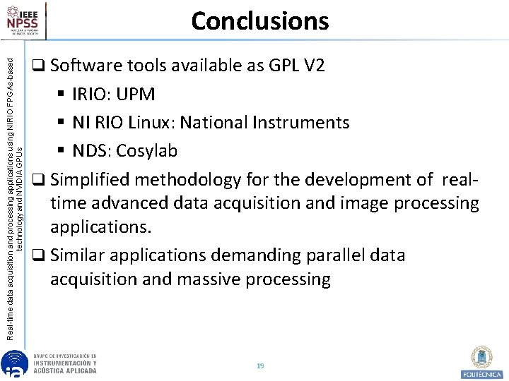 Real-time data acquisition and processing applications using NIRIO FPGAs-based technology and NVIDIA GPUs Conclusions